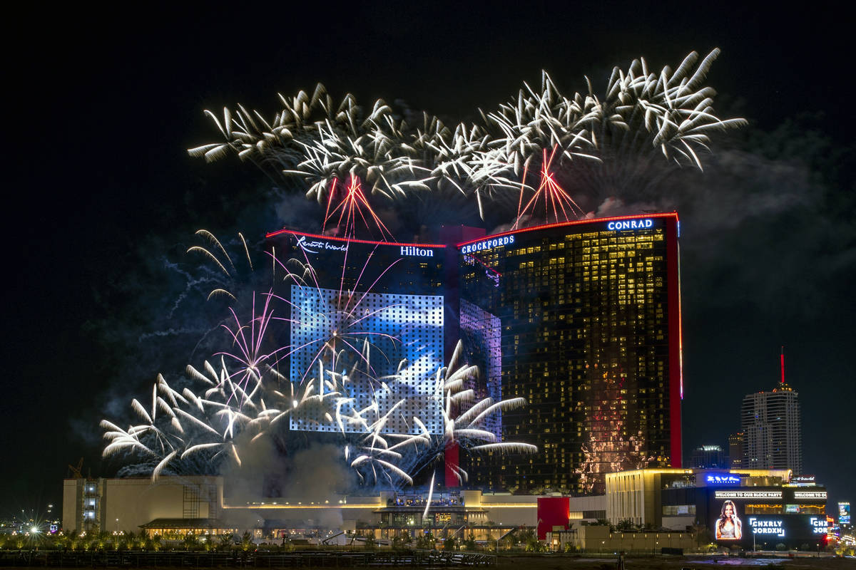 Resorts World Las Vegas grand opening fireworks show from Maggiano's Little Italy at the Fashio ...